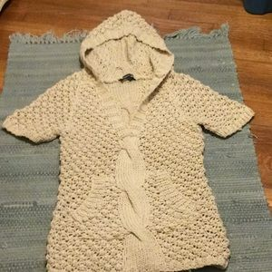 Ivory hooded knitted sweater
